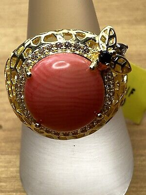 Coral, Smokey Quartz, Spinel & Zircon Ring In Gold Overlay Sterling Silver - O • 39.99£