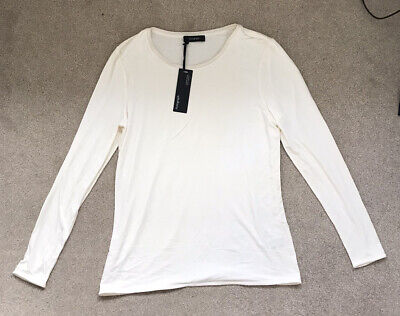 Marks And Spencer Autograph Supersoft Cream White Long Sleeve T-shirt Size 12 • 5£