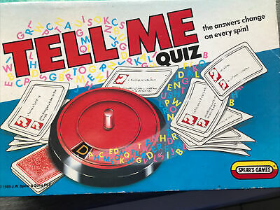 Vintage 1989 Spears Games TELL ME QUIZ The Answers Change On Every Spin • 4.95£