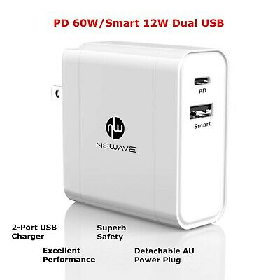 AU29.49 • Buy NEWAVE PD 60W Dual USB Fast Quick Wall Charger Adapter 4 Phone Tablet PC Laptop
