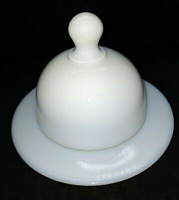 $24.99 • Buy Milk Glass Opaque White Sandwich Covered Butter Cheese Dish