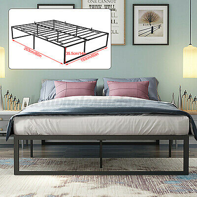 $ CDN144.62 • Buy Queen Size Platform Bed Frame 14 Inch Mattress Steel Foundation Metal Heavy  T