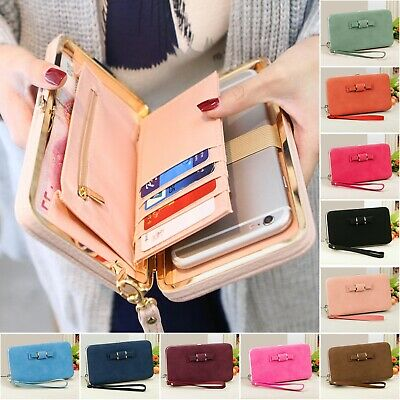 Womens Clutch Bag Ladies Leather Wallet Purse Handbag Phone Card Coin Zip Holder • 4.99£