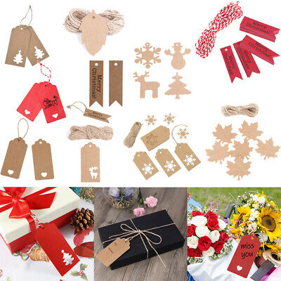 50/100x Christmas Kraft Paper Gift Tags Wedding Birthday Hang Label With Strings • 1.47£