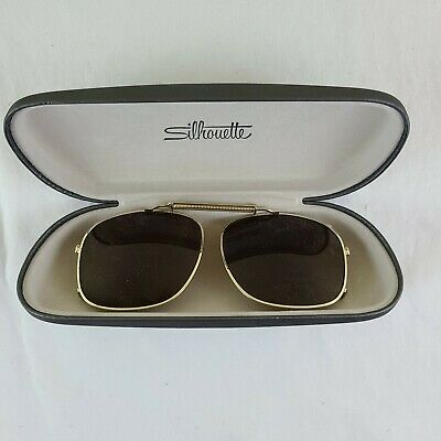 £25.41 • Buy Silhouette Gold Rimmed Dark Tint Clip-On Sunglasses W/ Case Glasses Not Included