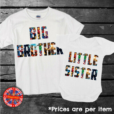 £8.99 • Buy Marvel Collage Big & Little Brother Sister Matching T-shirt Set Siblings Gift