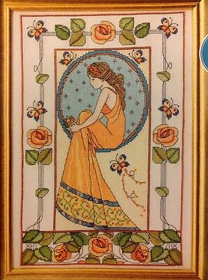 (B) Art Nouveau Lady, Roses, Butterflies Cross Stitch Chart • 1.99£