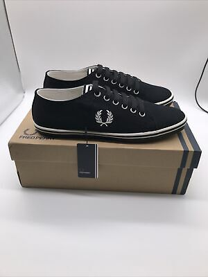 Fred Perry Kingston Twill Black Canvas Mens Logo Trainers Shoes UK 6 EU 39 New • 34.99£