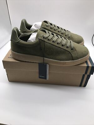 Fred Perry Mens B721 Microfibre Burnt Olive Green Logo Trainers Shoes UK 7 EU 41 • 42.99£