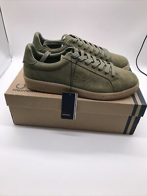 Fred Perry Mens B721 Microfibre Burnt Olive Green Logo Trainers Shoes UK 8 EU 42 • 42.99£
