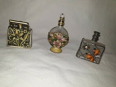 Minature Enamel ,Glass And Metal Perfume Bottles Collectable X 3 • 5.30£