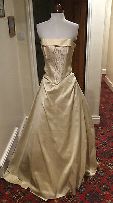 Two-piece Gold Silk Strapless Wedding Dress By Forget-me-not Designs • 25£