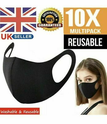 £3.99 • Buy 10 Black Face Mask Reusable Washable Breathable Dust Mouth Cover CHEAP UK