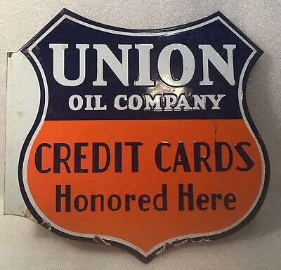 $ CDN427.71 • Buy Vintage Union Oil Company 12  Porcelain Metal Flange Sign Two-sided