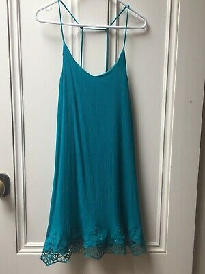 AU8 • Buy Ecote Urban Outfitters Teal Blue Green Slip Strappy Beach Lace Dress Size Small