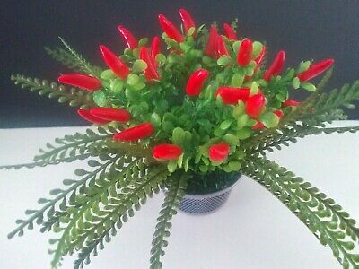 Cute Basket Of Red Chili Peppers. Artificial Silk Flowers • 7.17£