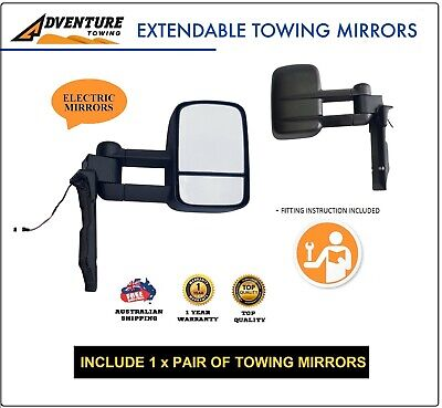 AU445 • Buy ADVENTURE TOWING MIRROR FOR TOYOTA LANDCRUISER 75 76 78 79 Series BLACK Electric