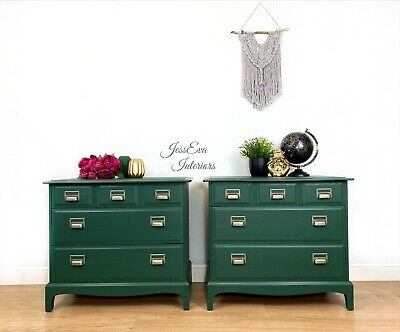 Green Stag Minstrel Pair Of Chest Of Drawers, Large Bedside Tables, Cabinets • 750£