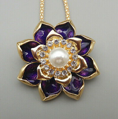 $ CDN1.30 • Buy Purple Enamel Crystal Lotus Flower Pendant Betsey Johnson Long Necklace/Brooch