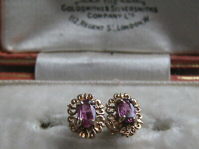 9ct 9 Carat Yellow Gold Amethyst Stud Earrings • 35£