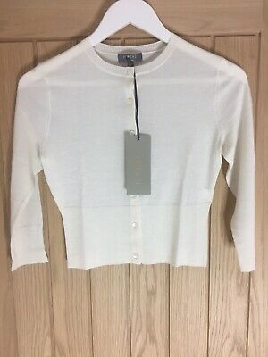 N Peal Womens Cashmere Cropped Ivory Cardigan Size/XS RRP£239 • 50£