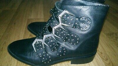 River Island Biker Rock Chic Style Ankle Boots 5 • 14£
