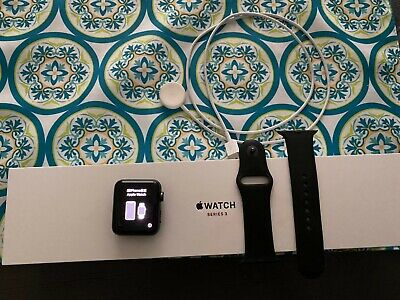 $ CDN110.53 • Buy Apple Watch Series 3 Cellular 42mm Space Gray Aluminum Case Black Sport Band