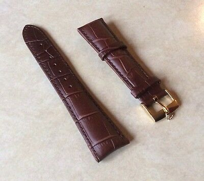 $ CDN152.81 • Buy ROLEX WATCH BAND 20MM Brown Leather With Rolex Gold Plated Buckle