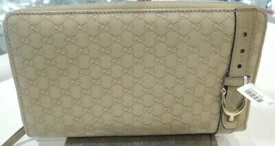 AU399 • Buy Gucci Micro GG Guccissima Long Purse Beige Belt Zipper Wallet - Excellent & Auth