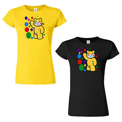 £9.99 • Buy Spotty Mask Pudsey Bear Ladies T Shirt Children In Need Dotty Floss Womens Top