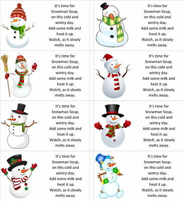 £1.99 • Buy 40 X Christmas Snowman Soup Labels/stickers For Hot Chocolate/present/gift Bags
