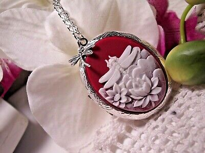 $ CDN18.41 • Buy MOTHERS DAY Dragonfly Silver  Photo Locket Mothers Day Mom QUALITY LOTUS FLOWER