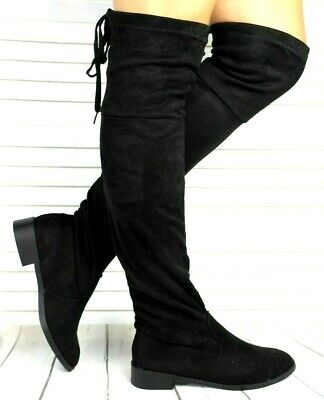 Womens Classic Faux Suede Pull On Lace Up Flat Stretch Over Knee High Boots Size • 19.99£