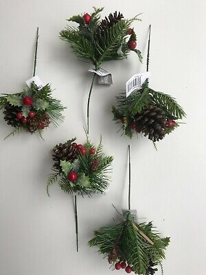 Pack Of 5 Artificial Fern Pine Cone & Berry Picks 20 Cm  -  Christmas • 7.99£