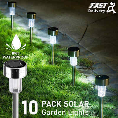 £11.29 • Buy 10x Solar Powered Garden Lights Stake Outdoor Patio Post Light Pathway Lawn Lamp