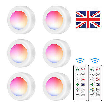 6 Pack LED Under Cabinet Lighting 16 Colors RGB Puck Counter Light + Remotes UK • 7.59£