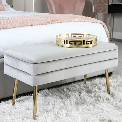 Grey Silver Velvet And Gold Metal Storage Ottoman Bench Bedroom Seat Stool • 79.95£