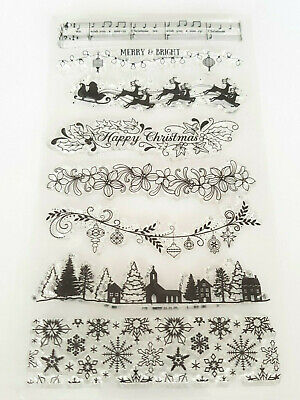 Christmas Borders/edges Clear Stamps-xmas Transparent Stamp-snowflakes/trees • 5.75£