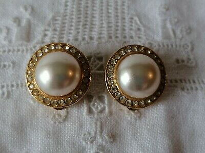 Chic Vintage 80s Faux Pearl & Crystal Power Dressing Clip On Gold Tone Earrings • 9.99£