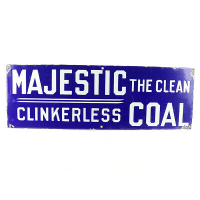 $350 • Buy Vintage Majestic The Clean Clinkerless Coal Porcelain Sign