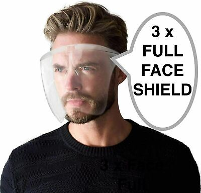3 X Face Shield Protective Full Face Mask Visor Transparent Glasses PPE • 10.99£