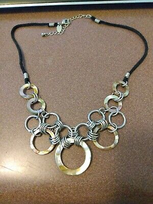 $ CDN9.89 • Buy Lia Sophia Silver And Abalone Shell Necklace With Black Cord, Mint Condition
