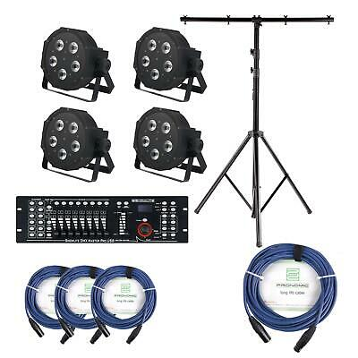 Stage Lighting Kit 5x9W LED RGBW PAR Can USB DMX Controller Mixer Cables Stand • 472£