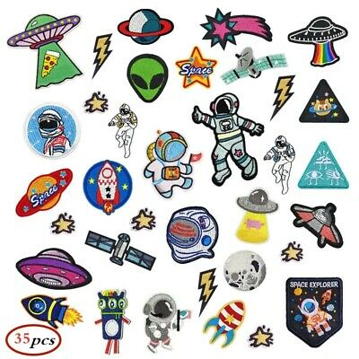 Full Set 35pc Astronaut Space Rocket Planet Embroidered Logo Patch Badge Iron On • 14.99£