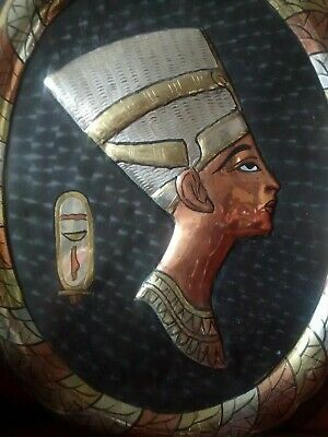 Vintage Egyptian Nefertiti Large Engraved Brass Copper  Wall Plaque 13  X 10  • 45£