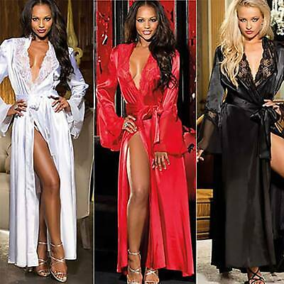 Sexy Women Satin Lace Sleepwear Kimono Robe Dressing Gown Night Nightwear UK • 9.99£