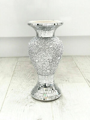 Beautiful Mosaic Vase Diamond Silver Crystal Decorative Mirror Flower Luxury NEW • 19.99£