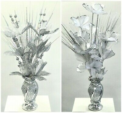 Mosaic Vase And Flowers Diamond Silver Crystal Decorative Mirror Luxury Romany • 29.99£