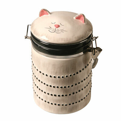 Ceramic Cat Treat Cookie Jar - Sealable Kitchen Canister • 14.97£