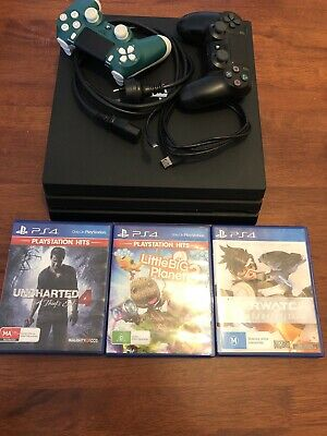 AU350 • Buy Sony PlayStation PS4 Pro 1TB Console Plus 2 Controllers And 3 Games
